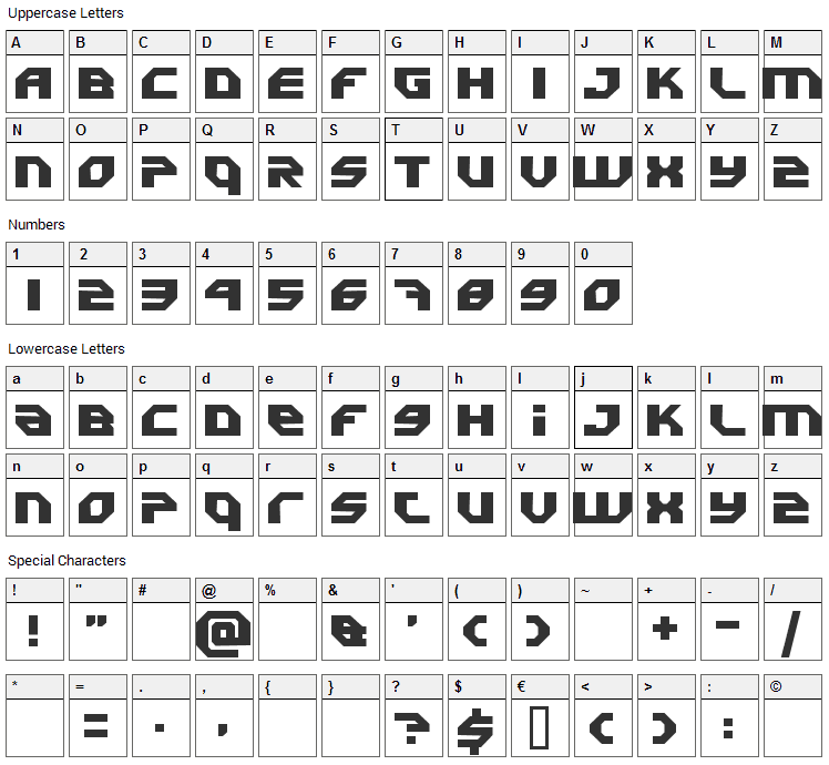 Uranium Font Character Map