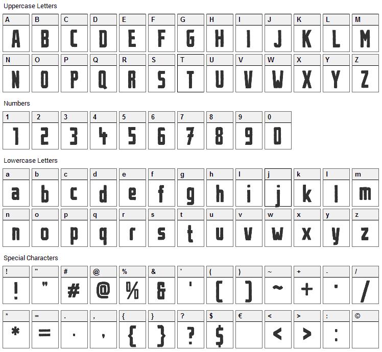Urban Brush Font Character Map