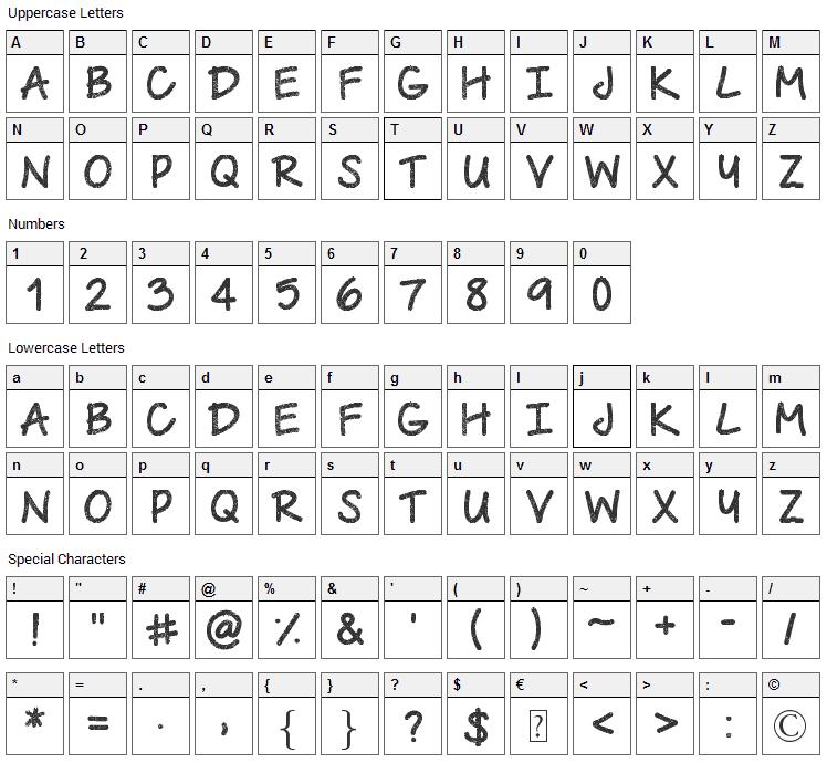 Urban Class Font Character Map