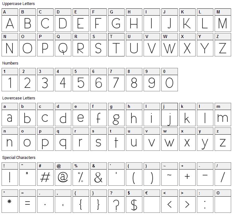 Urban Elegance Font Character Map