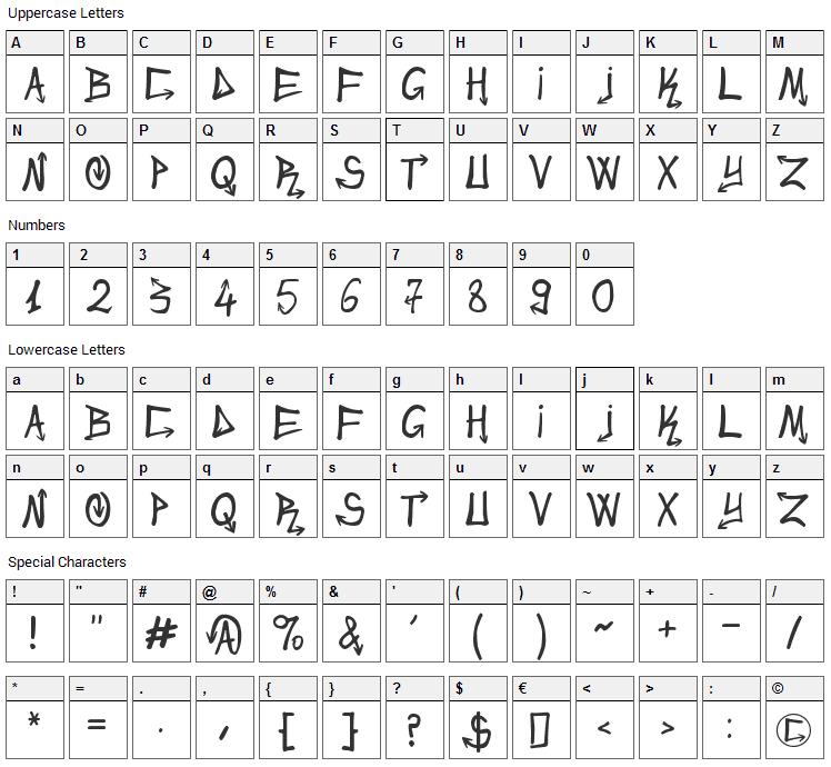 Urban&Slick Font Character Map
