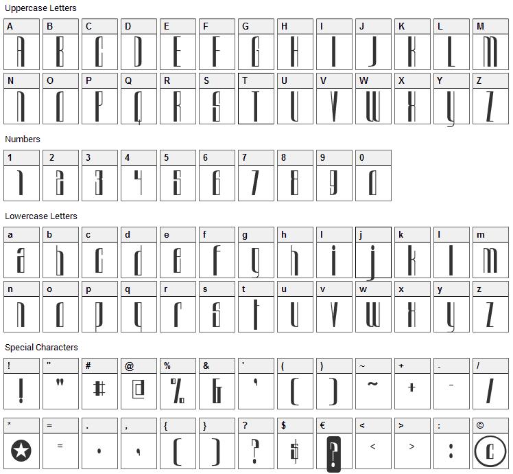 Urkelian Font Character Map