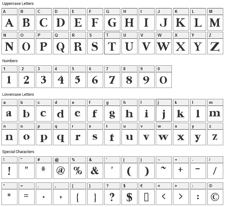 Ursa Serif Font Character Map