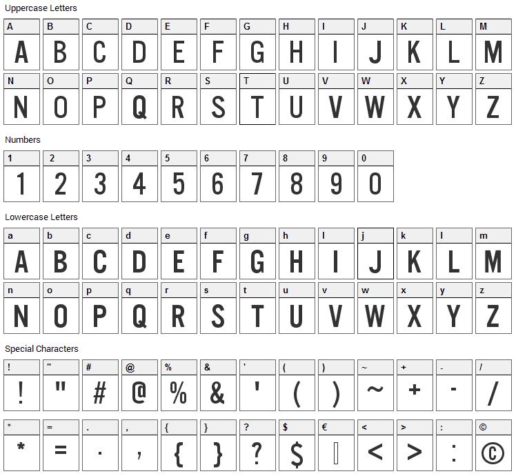 U.S. 101 Font Character Map