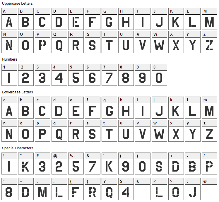 USAAF Stencil Font Character Map