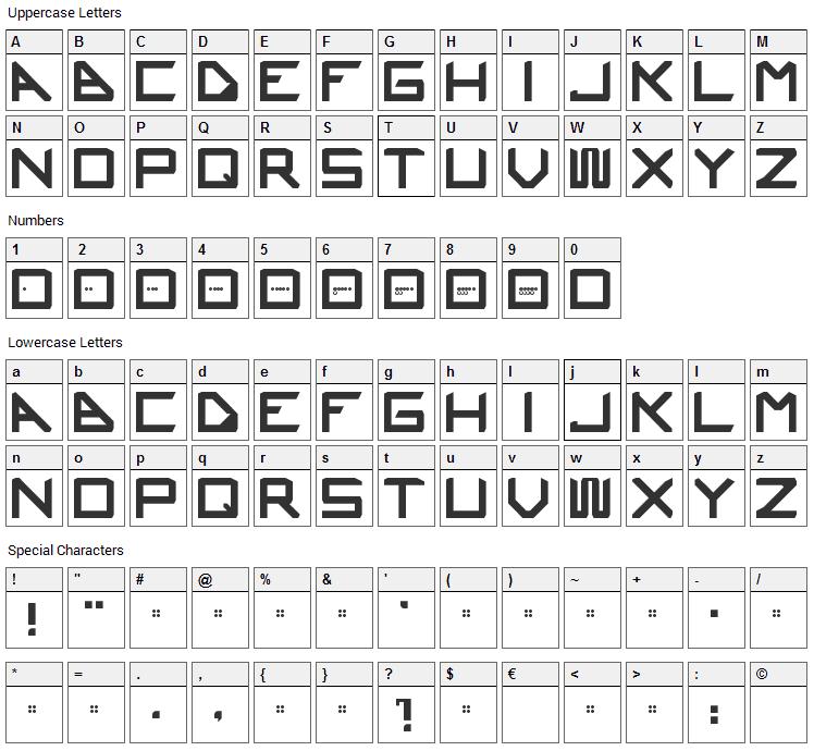 Ustura Font Character Map