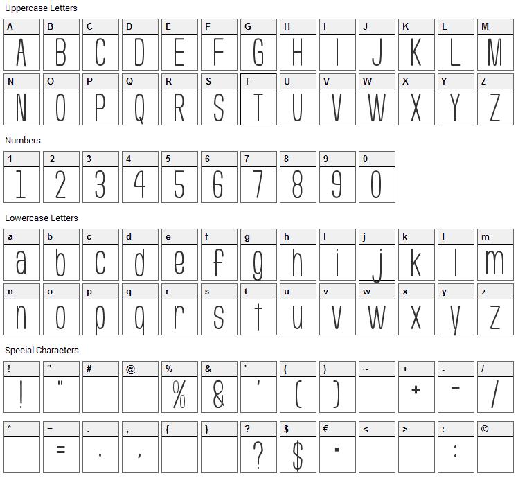 Usuazi Hosomozi Font Character Map