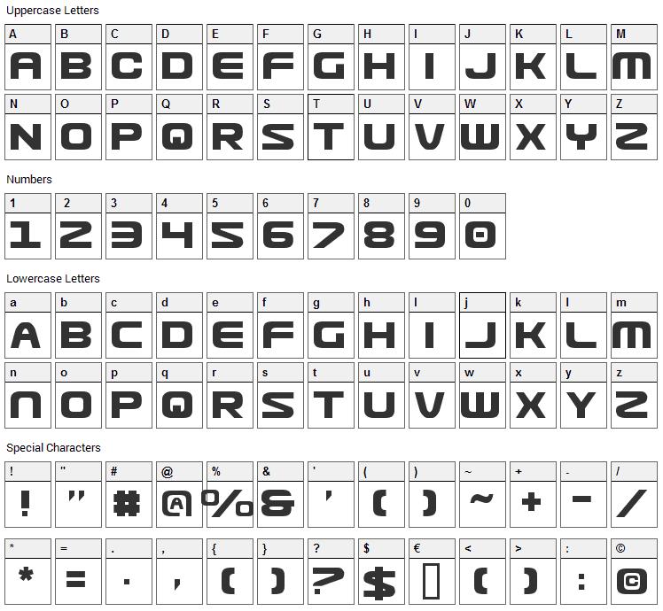 Usuzi Font Character Map