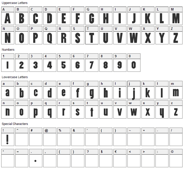 Utility Font Character Map