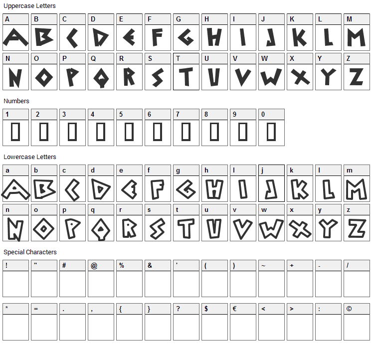 Uylus Font Character Map