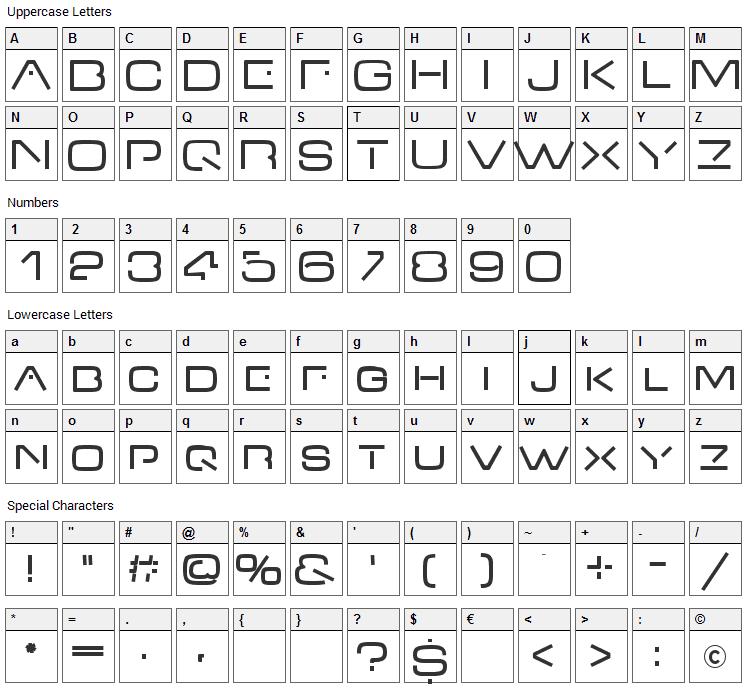 V-Dub Font Character Map
