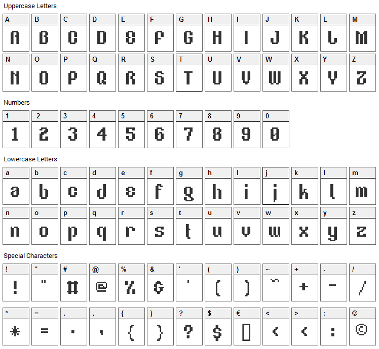 V5 Eastergothic Font Character Map