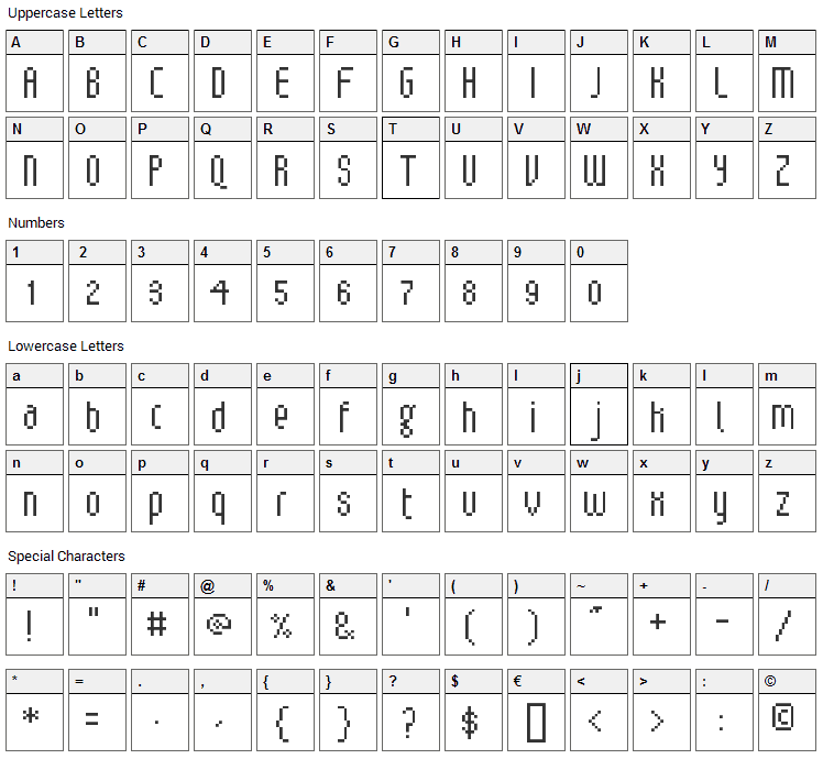 V5 Loxica Lixera Font Character Map