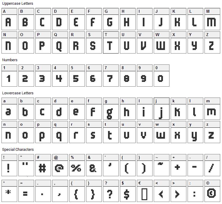 V5 Loxica Robusta Font Character Map