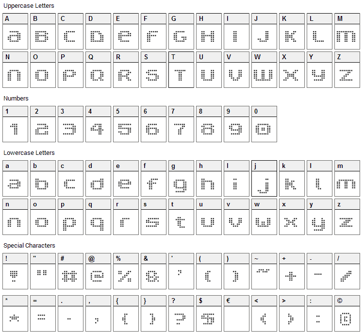 V5 Prophit Cell Font Character Map