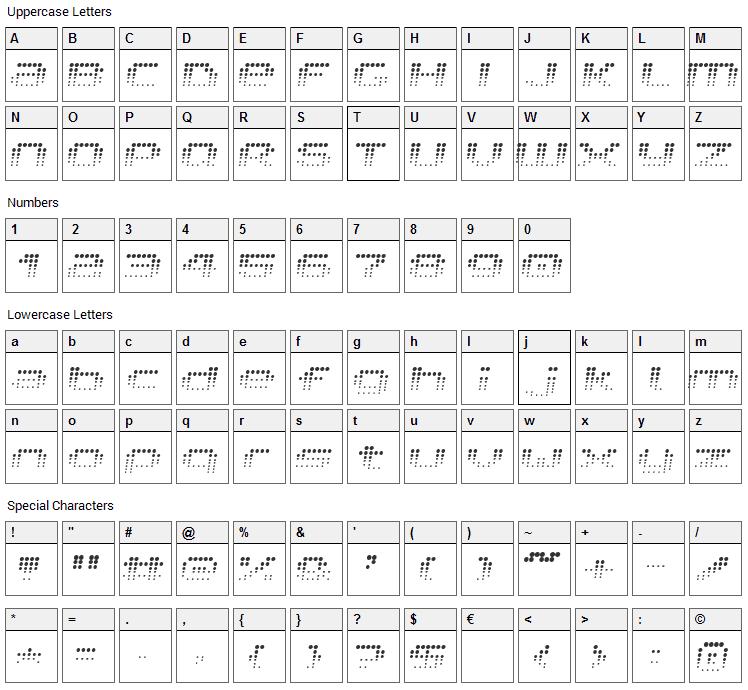 V5 Prophit Font Character Map