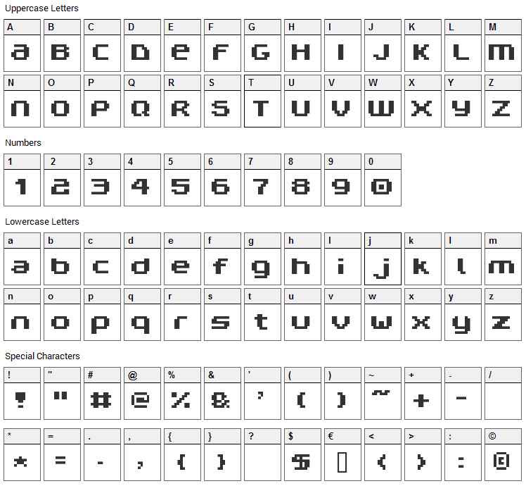 V5 Prophit Non Font Character Map