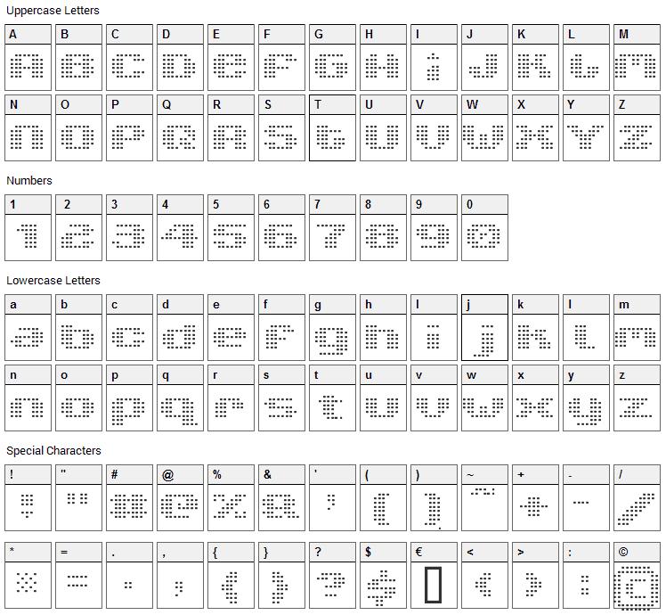 V5 Xtender Loin Font Character Map