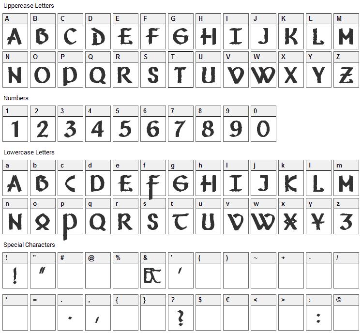 Vafthrudnir Font Character Map