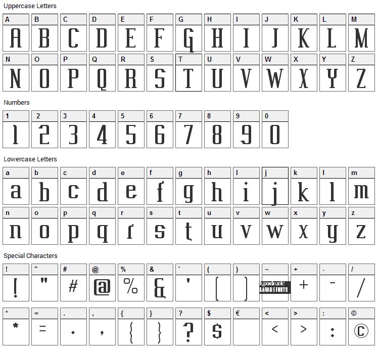 Vahika Font Character Map