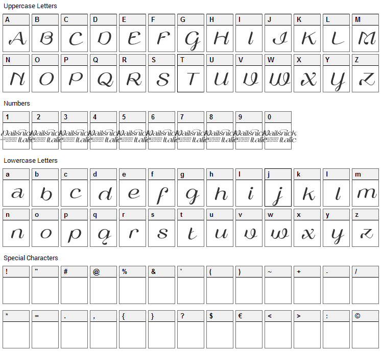 Vailsnick Font Character Map