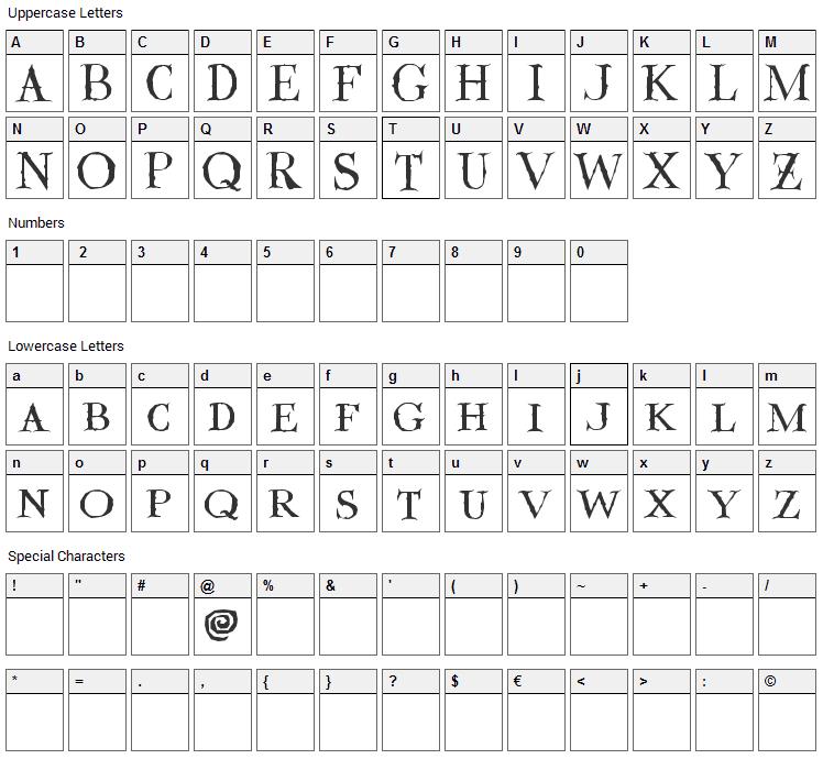 Valdemar Font Character Map
