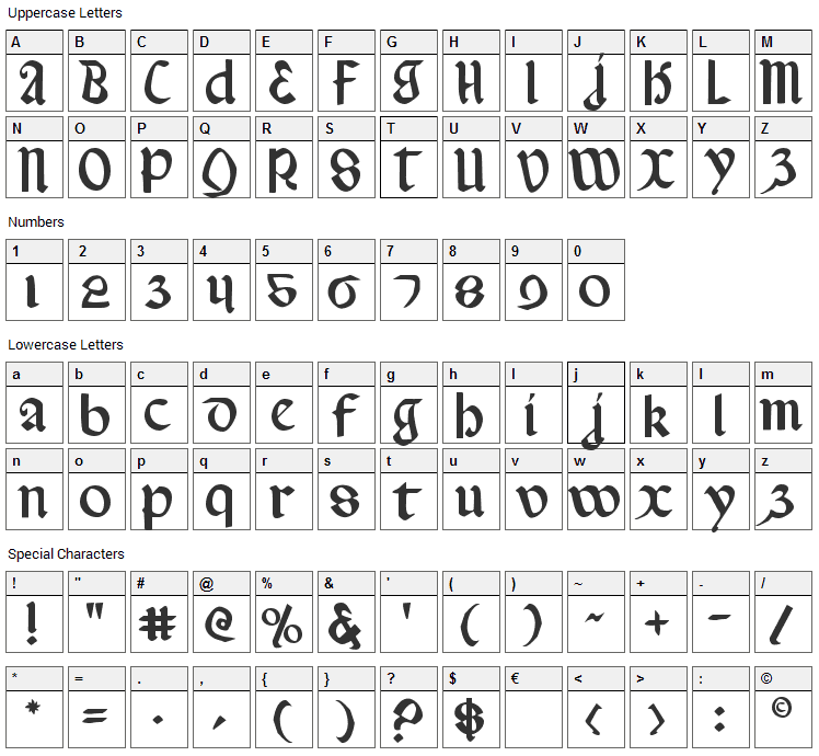 Valerius Font Character Map