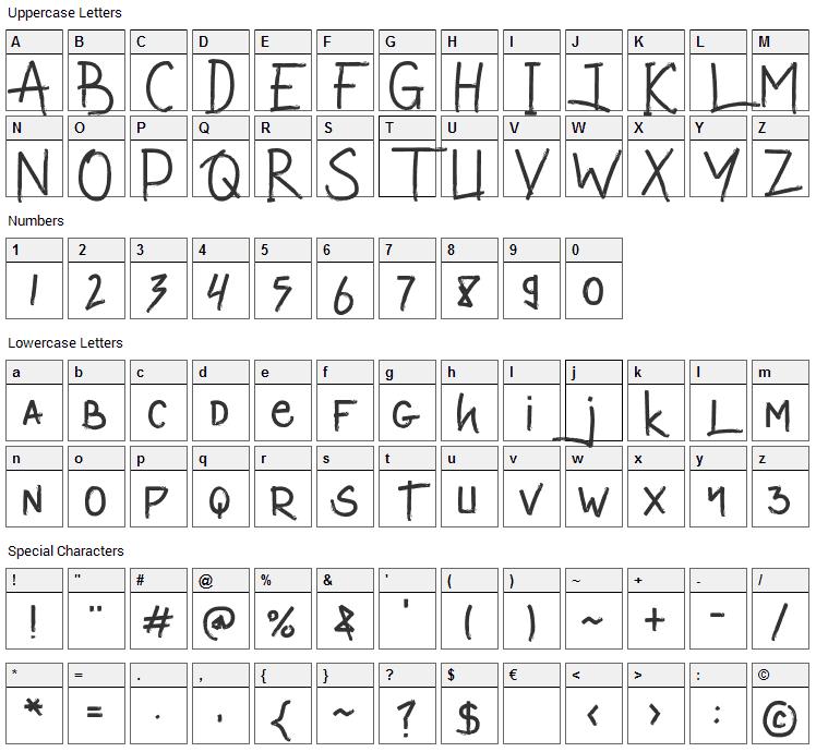 Valetta Man Font Character Map