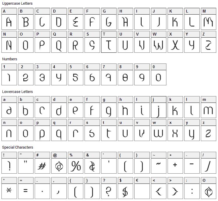 Valium Apostrophe Font Character Map