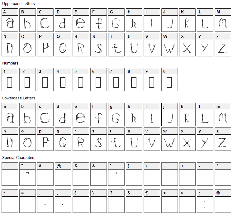 Valium Font Character Map
