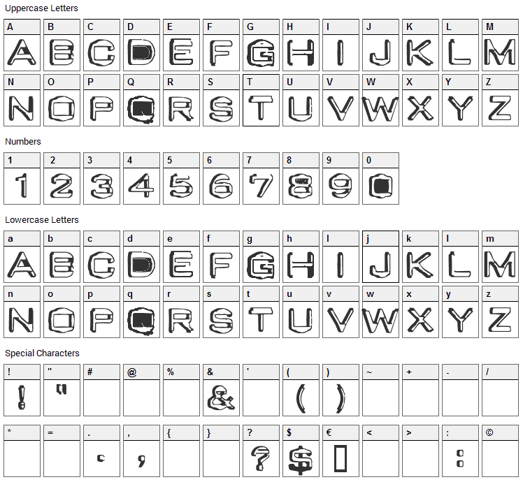 Valu Old Caps Font Character Map