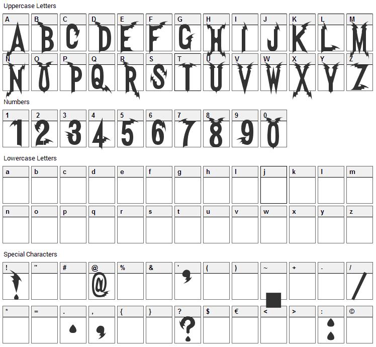 Vampire Font Character Map