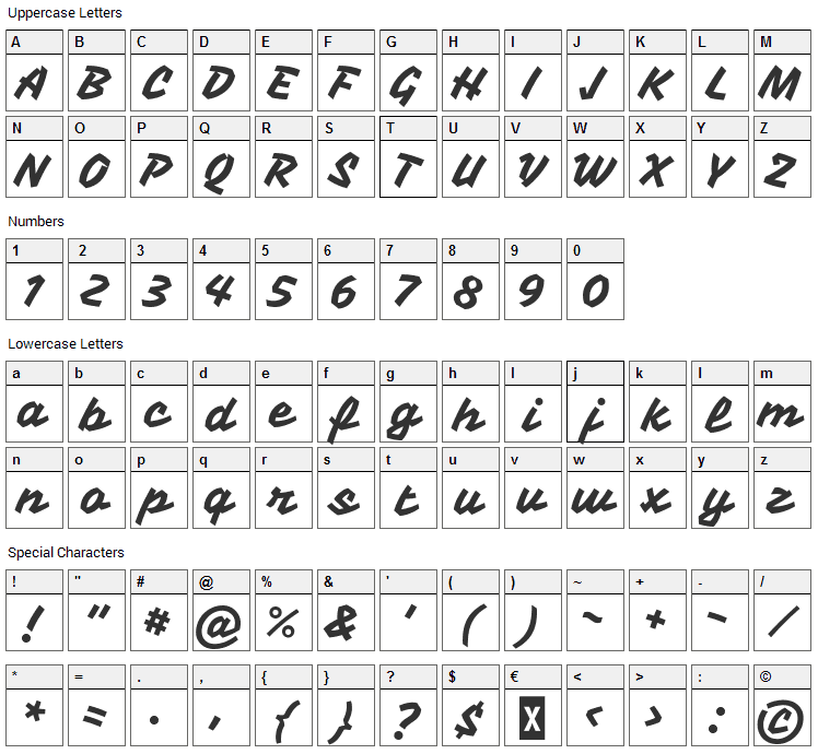 Vampiro One Font Character Map