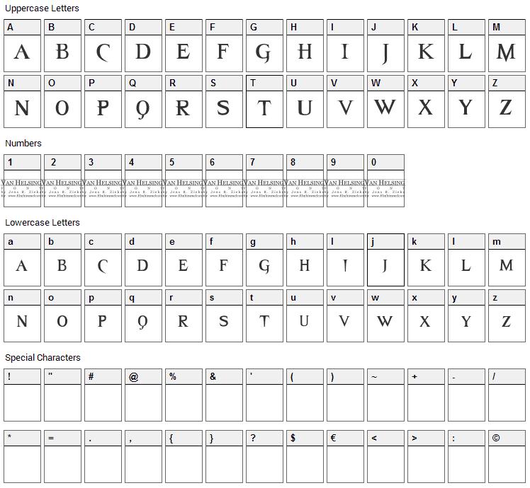 Van Helsing Font Character Map