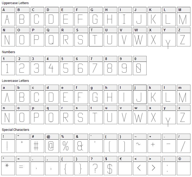Vanadine Font Character Map