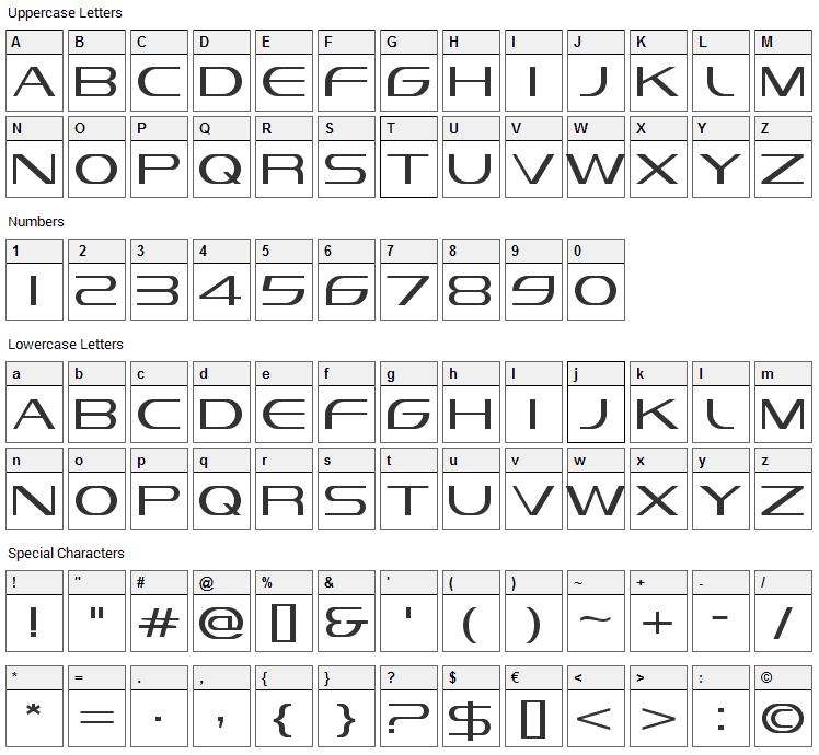 Vandiana Platin Font Character Map