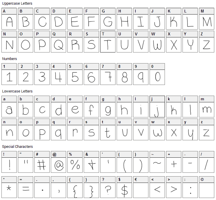 VaNess Font Character Map