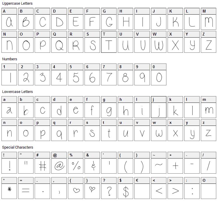 Vanessa Marie Font Character Map