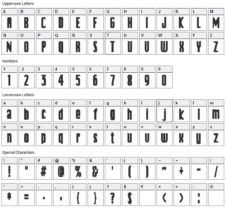 Vanilla Boys Font Character Map