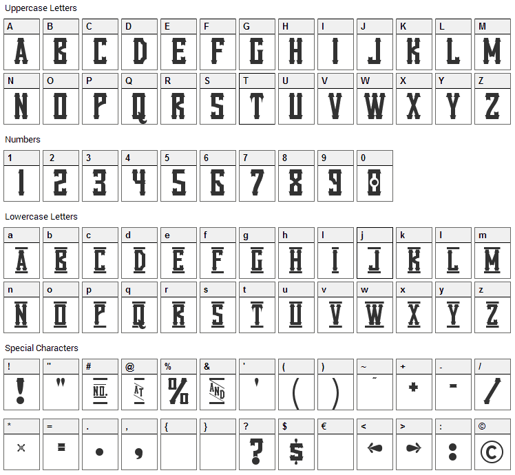 Vanilla Whale Font Character Map