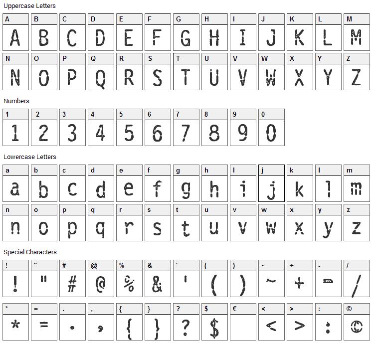 Vanthian Ragnarok Font Character Map