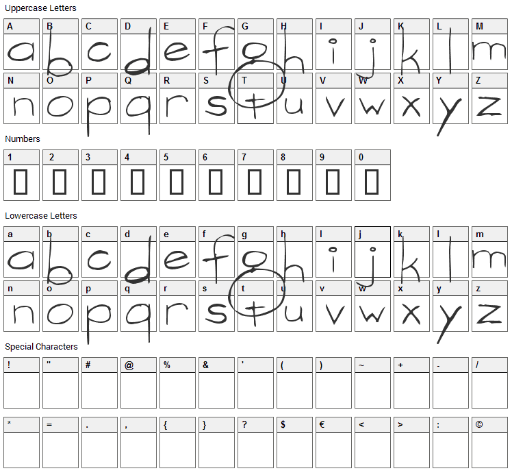 Vargas Font Character Map