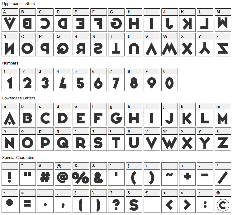 Variete Font Character Map