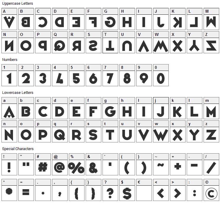 Variete Font Character Map