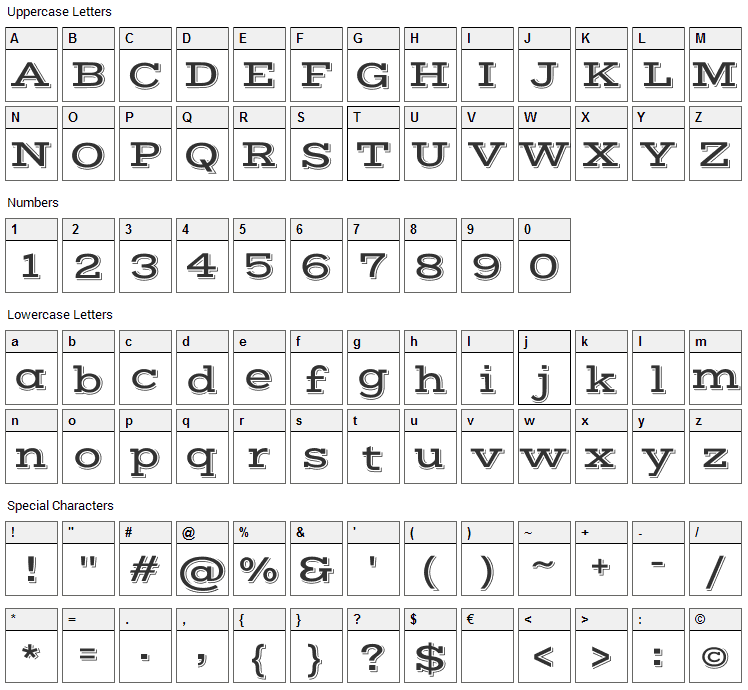 Vast Shadow Font Character Map