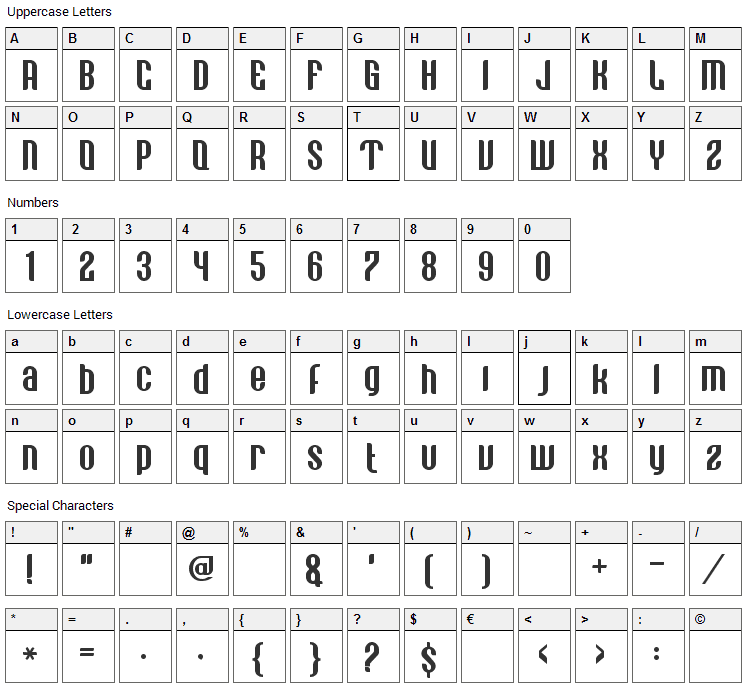 Vastagurly Display Font Character Map