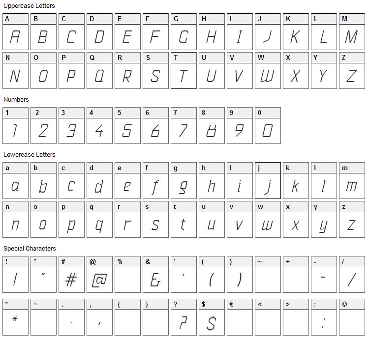 Vazari Sans Serif Font Character Map