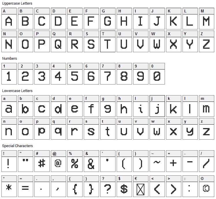 VCR OSD Mono Font Character Map