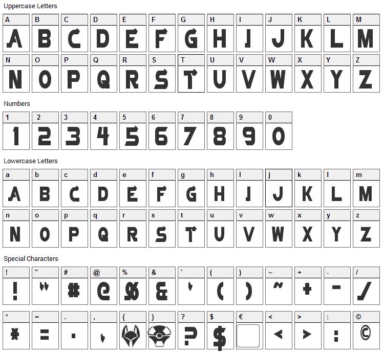 Vector Sigma Font Character Map