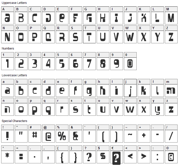 Vectroid Font Character Map